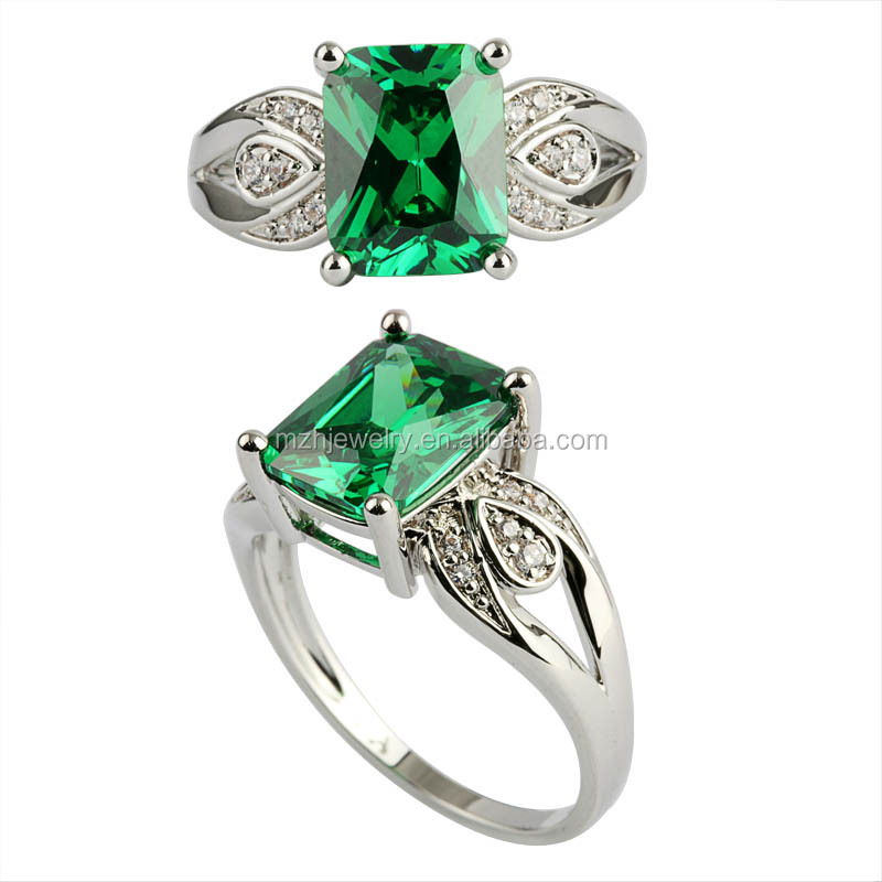 Factory wholesale high quality cushion cut emerald silver ring
