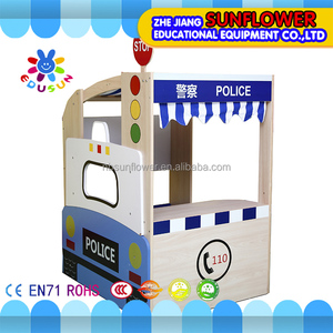 Wooden doll house police office play education toys game pretend play toys