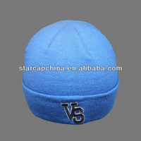 CUSTOM CHEAP EMBROIDERY LOGO FOLD UP BLUE WINTER HATS