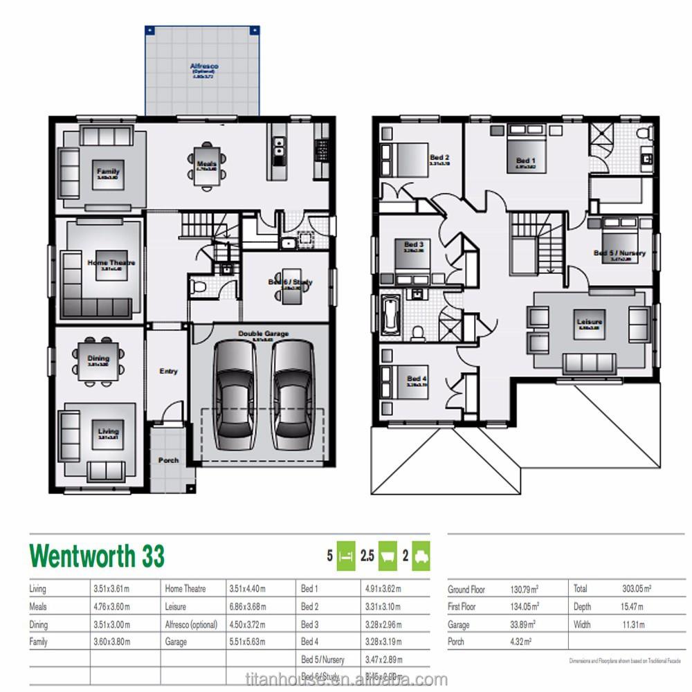 5 slaapkamer goedkope prefab woningen met lichte stalen for Goedkope prefab woningen