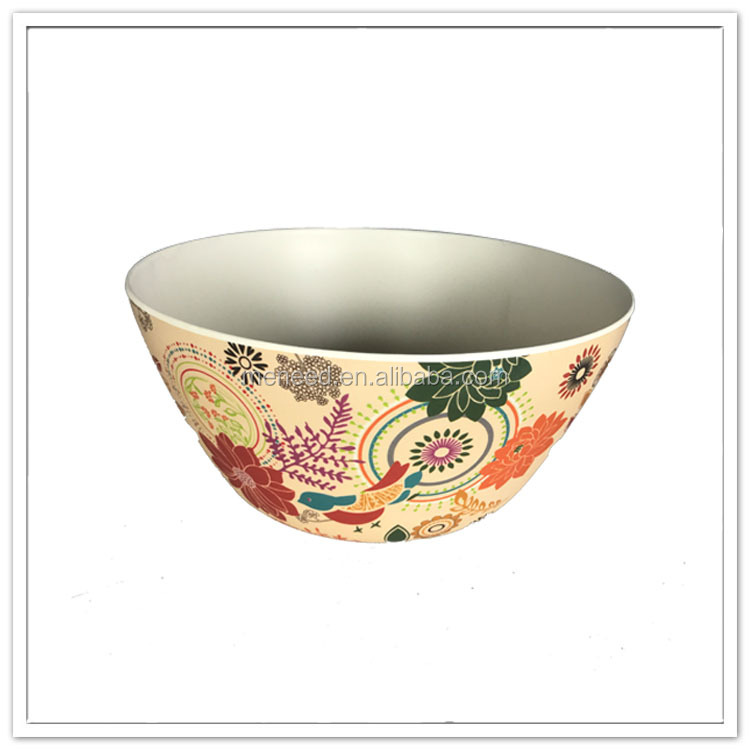 2017 new design bamboo mixed melamine salad bowl