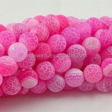 Wholesale loose gemstone natural pink dream fire agate round beads