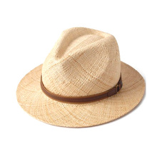 Hand made small brim trilby mens promotional flat brim paper straw panama hat for promotion