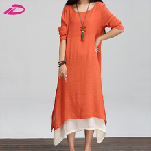 Fashion Style Hippie Women Cotton Linen Casual Loose A-line Long Maxi Shirt Dress Kaftan