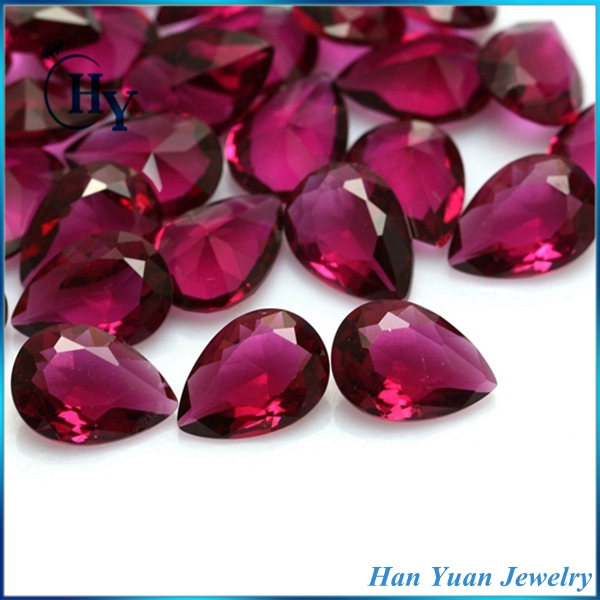 Free sample 10x14mm red color large pear cut decorative glass gems diamond