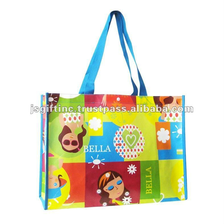 Laminated woven bag,laminated reusable bag,laminated tote bag.