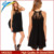 latest dress designs photos summer sleeveless women dress high neck sweet lace chiffon dress