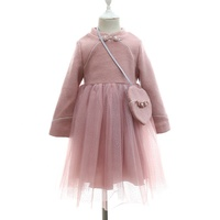 Winter Wool Baby Chinese Traditional Formal Girl Dresses with Knot Button and Bag