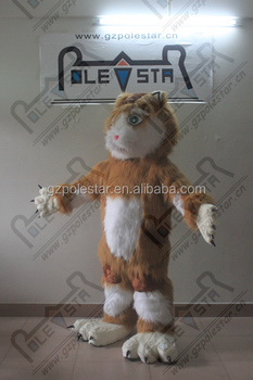 brown and white long fur cat macot costume