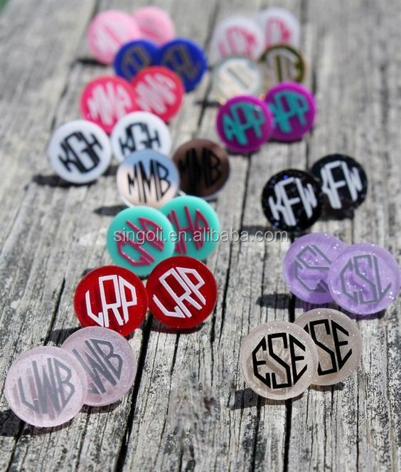 Rainbery 2017 Monogram Glitter Earrings 1.6cm Disc Monogram Earrings