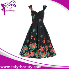 2016 summer style female Ladies Sexy backless dress ball gown cute strap Vintage prints summer dress