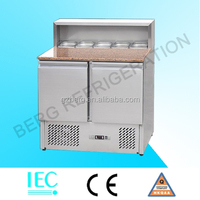 refrigerated pizza counter/pizza prep table with granite top and pan cooler/ commercial chiller