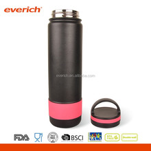 2016 new design 22oz wide mouth insulated stainless steel sports bottle with silicone grip