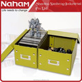 NAHAM House Collapsible Metal Label Button Folding Storage Shoe Boxes With Lid