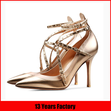 summer golden metal luxury fashion sexy high heel leather brand no lace made in china dress middle age women shoes