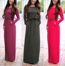 The autumn evening dress dress new bandage waist Maxi