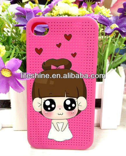 Cartoon phone case for iphone,cross stitch mobile phone case