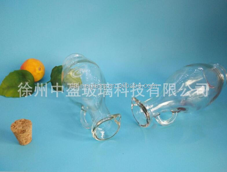 500ml clear glass rum bottle with handle and the cork