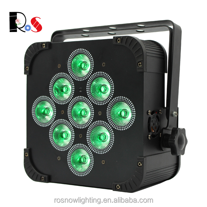 9pcs 15w rgbwa 5in1 Infared DMX512 Theatre light equipment battery par can