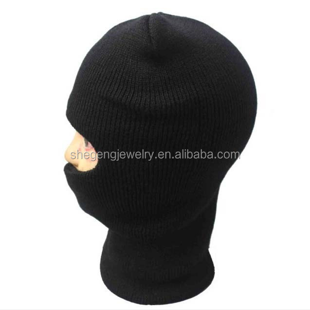 KNITTED WINTER WARM SKI FULL FACE COVER ONE HOLE MASK BEANIE HAT