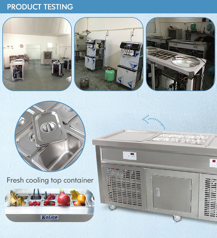 Free shipment double square pan roll fry ice cream machine fry ice cream roll machine with 10pcs ingredients
