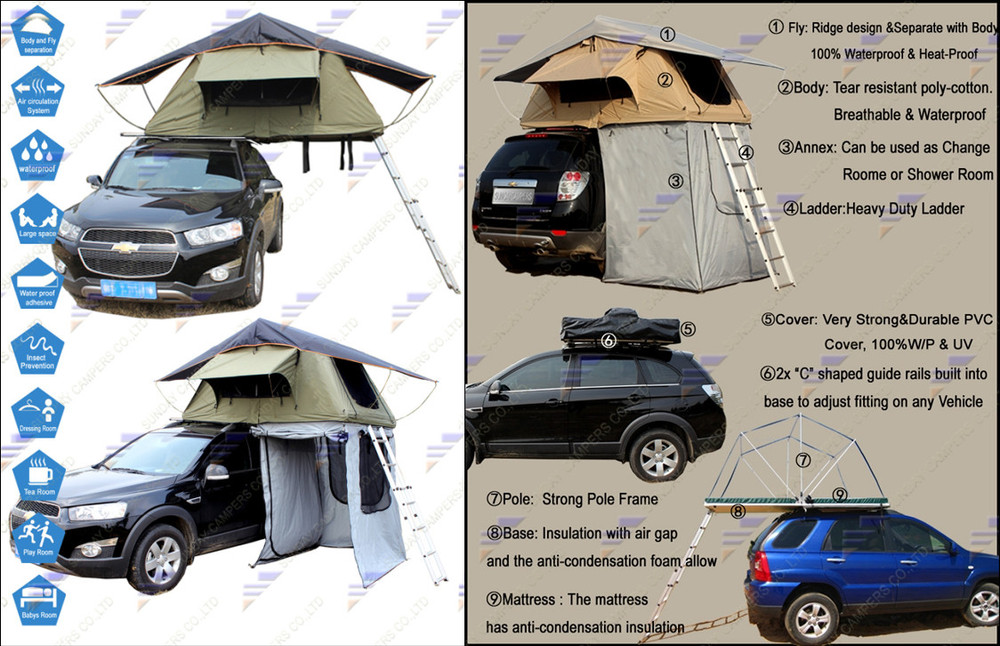 High quality 4x4 off road accessories canvas camping car roof top tent