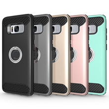 for samsung galaxy s8 carbon fiber textures 360 degreen rotation ring kickstand phone case for samsung galaxy s8