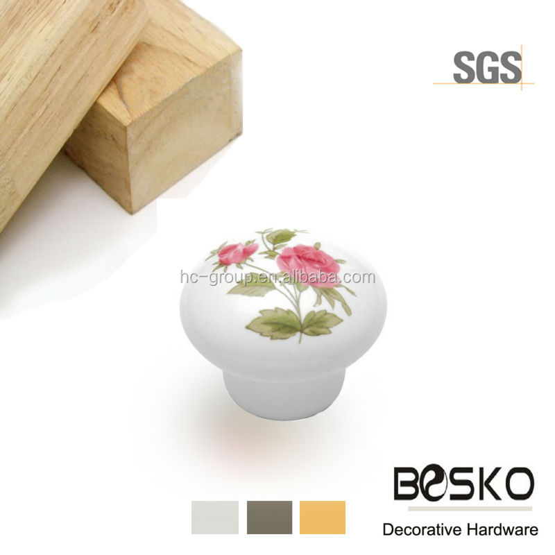 Wholesale flower painted ceramic kids furniture knobs factory