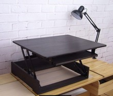 height adjustable sit stand desk computer riser dual monitor capable 23'' length with retractable keyboard tray