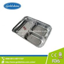 Divided aluminum foil container Z4012 septate mess tin used At home