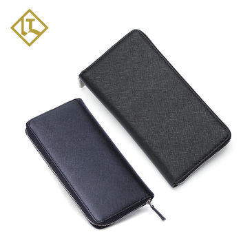 Premium delicate design quality hold cash cards phone RFID full grain saffiano leather men long wallet with zipper pocket