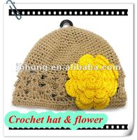 wholesale STOCK ivory crochet baby hats with flower