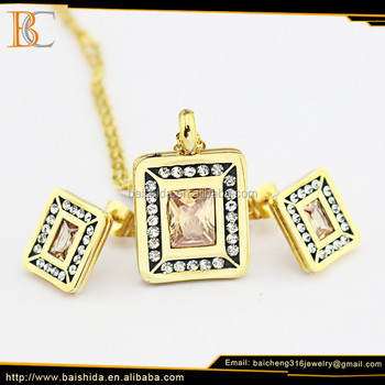 Pakistani gold plated jewelry sets stainless steel charms necklaces earring for bridal jewelry pendant sets