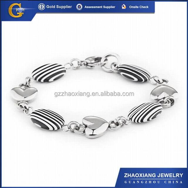 GBB0007 Fashion zebra gemstone beaded bracelet in stainless steel,clasp with heart shape