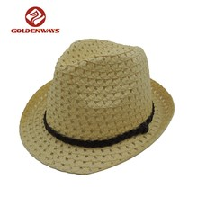 Groothandel zomer promotie fashion custom fedora papier strooien hoed