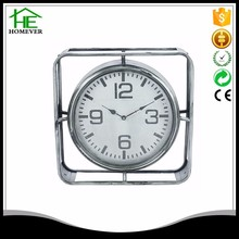 Custom antique retro silver square shape metal table clock