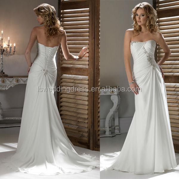 WD0243 chiffon off shoulder strapless heart shaped neck trimmed by beads and crystals pleated bodice brush train wedding dress