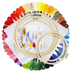 Embroidery Starter Kit Bamboo Embroidery Hoops, Color Threads, 18-Inch 14 Count Classic Reserve Aida and Cross Stitch Tool Kit