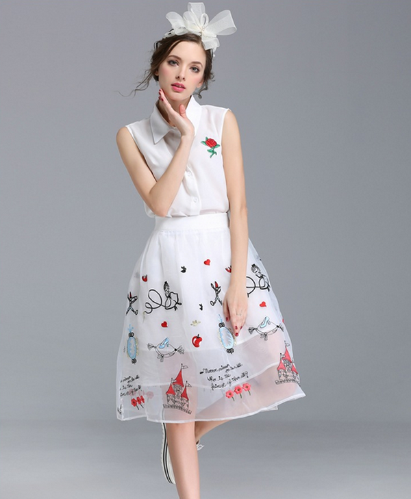 Fashion new summer casual set organza white printed two pieces women dress for young lady dress