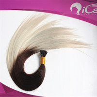Ali express qicai hair high quality Blonde color european human virgin hair AAAAA I tip hair