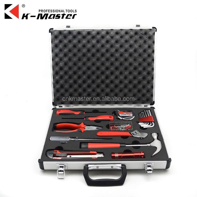 K-Mastet factory direct sales 18 pcs high quality household tool set aluminum alloy tool box
