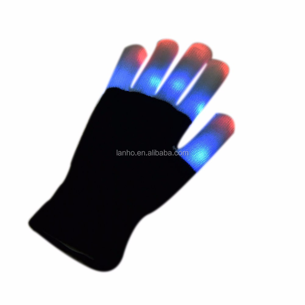 LED Glow Gloves Rave Light Up Flashing Finger Lighting Mittens Magic Black luminous Gloves Kids Children Toys Supplies