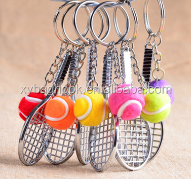 2017 new Sport wholesale tennis racket key chain customized