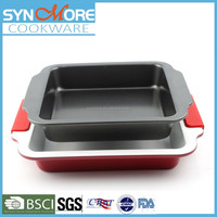 8 inch 9inch 0.6MM Carbon Steel Square Bakeware,Tray Baking, Baking Pan with Silicone Handle