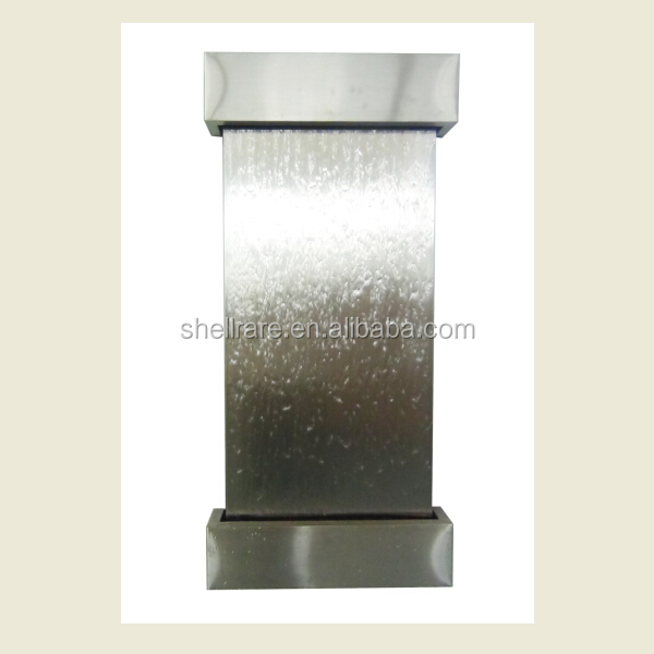 stainless steel wall hanging waterfall fountain with led light for home funiture decoration