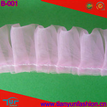 25mm pleated gathered pink lace for garment decoration