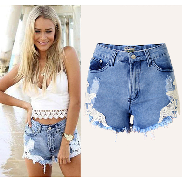 2016 Summer Fashion Women Destroyed Denim Shorts Ladies Lace Patchwork Tassel Fringed High Waist New Pattern Jeans