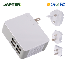 2018 new style Interchangeable plug 5v 5a 6 port slim usb wall charger