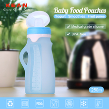 Portable FDA bpa free silicone stainless steel baby feeding bottle