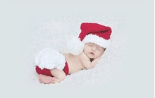 Queena Christmas set of two pieces hand woven hand crochet new baby photography clothes